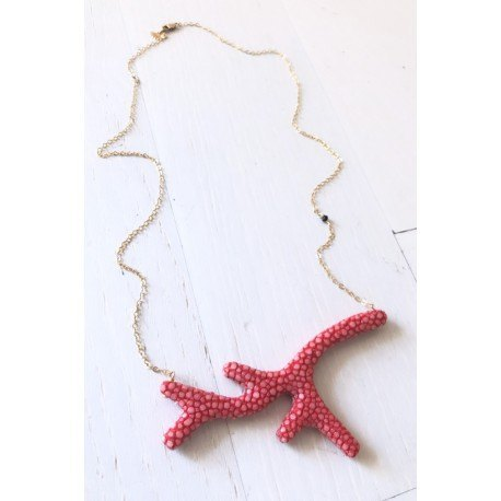 <p>Coral-shaped necklace lined with red stingray fish skin andGold Filled chain with tiny Swarovski bead.</p> <p>Limited edition. Check availability of colors.</p>