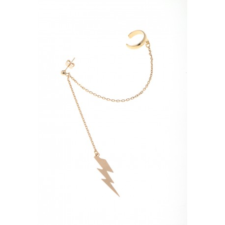 <p>It's an earcuff! You can adjust it to the ear as you prefer.</p> <p>18k gold plated silver ring with fine chains and hanging Gold Filled Thunderbolt charm.</p>