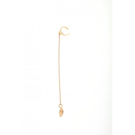 <p><span>It's an earcuff! You can adjust it to the ear as you prefer.</span></p> <p><br />Silver ring with fine chain and leaf charm, all 18k gold plated.</p>
