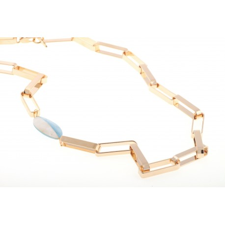 <p>Rectangular links necklace adorned with white and blue mother of pearl piece.</p> <p>Approximate lenght: </p>