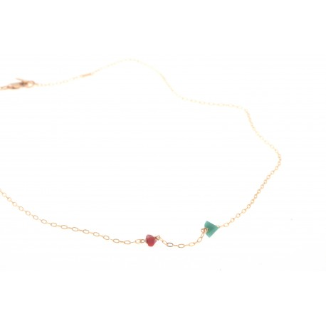 <p>Gold Filled chain necklace (40cm approx) adorned with irregular colored crystals in two sizes. (more colors available).</p> <p><span> </span></p> <p><span>MOTHER'S DAY SPECIAL: CHOOSE CRYSTAL COLOR FOR MOM AND ADD AS MANY MINI CRYSTALS AS CHILDREN YOU WANT TO REPRESENT. PICK YOUR COLORS!</span></p> <p> </p>