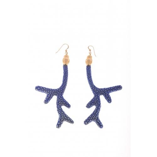 Branch earrings, blue