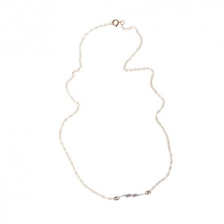 <p>Gold Filled chain necklace (40cm aprox.) with sterling silver ray charm.</p>