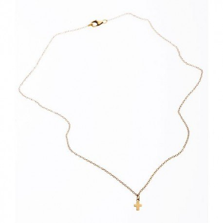 <p>Gold filled chain necklace (40cm aprox.) adorned with tiny little Gold Filled cross. </p> <p>It can get wet!</p>