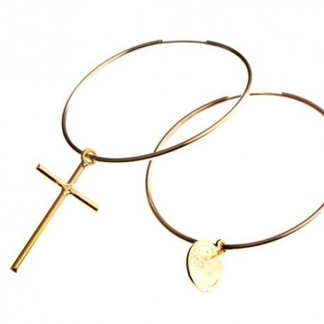 <p>Gold Filled hoops with cross and medal Gold Filled charms.</p> <p>Hoop diameter: 45mm</p>