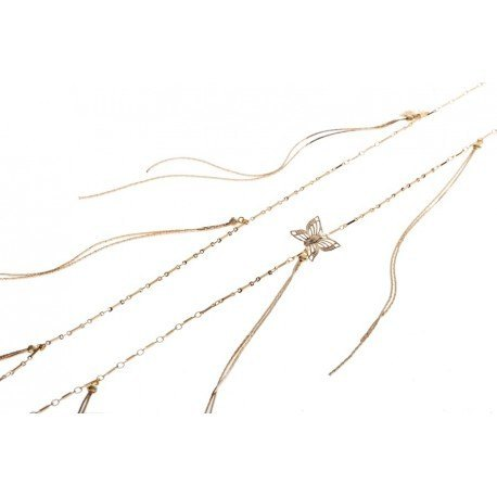 <p>Extra long necklace with 18k gold plated chain, chains hanging like fringes and a butterfly ornament.</p>