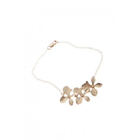 <p>Gold Filled chain with 18k gold plated orchid flowers. </p>