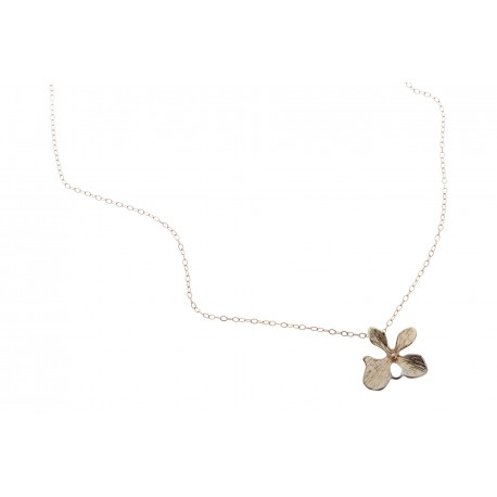 <p>Gold Filled chain (40cm aprox.) with 18c orchid flower pendant. </p>