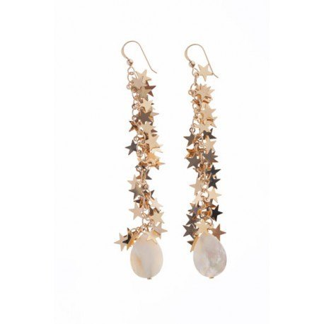 <p>Cascade of stars earrings, 18c gold plated, m.o.p. drops and Gold Filled hook.</p>