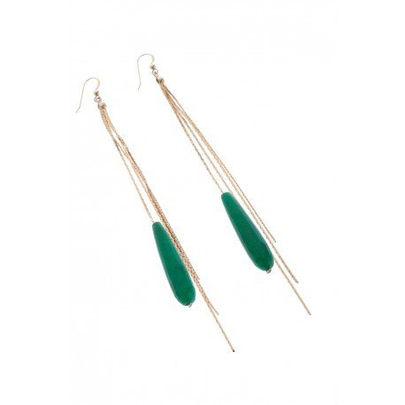 <p>Long earrings with 18k gold plated chains, Gold Filled hook and green agate long drops.</p>