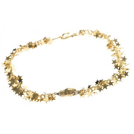 <p>Gargantilla de estrellas con adorno de cabeza de serpiente y cierre de sirena. Todo chapado en oro de 18k.Contorno aproximado: 40cm</p>