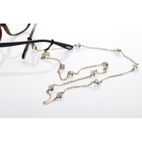 <p>Jewel chain for any type of glasses.</p> <p>18k gold brass chain with Swarovski crystals.</p> <p></p>