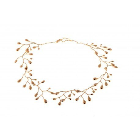 <p>18K gold plated brass articulated necklace made of pieces in the shape of branches.</p>