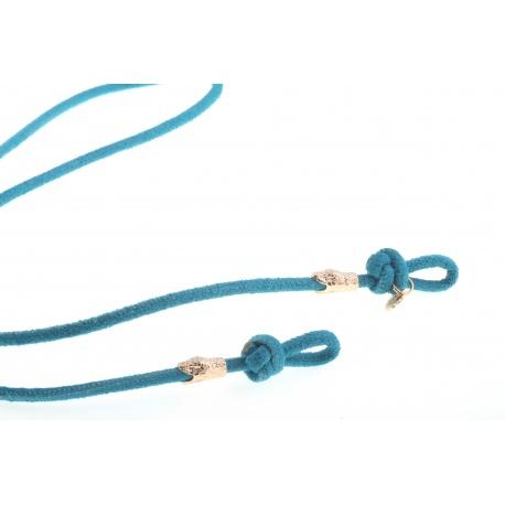 <p>Práctico collar para cualquier tipo de gafa.<br /><br />Cordón de piel de ante texturizado azul eléctrico, de 4mm de grosor,y adorno de cabezas de serpiente chapadas en oro de 18k.<br /><br />Largo aproximado: 88cm<br /><br />Disponible en más colores. Disponible también chapado en plata de ley.¡Consúltanos!</p>