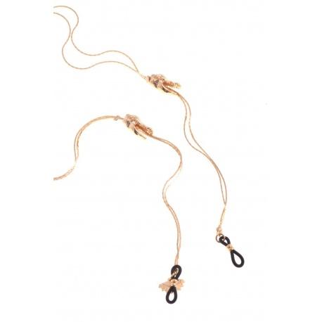 <p>Collar joya para cualquier tipo de gafa.</p> <p>Cadena de latón chapada en oro de 18k con adorno de cabezas de cocodrilo.</p>