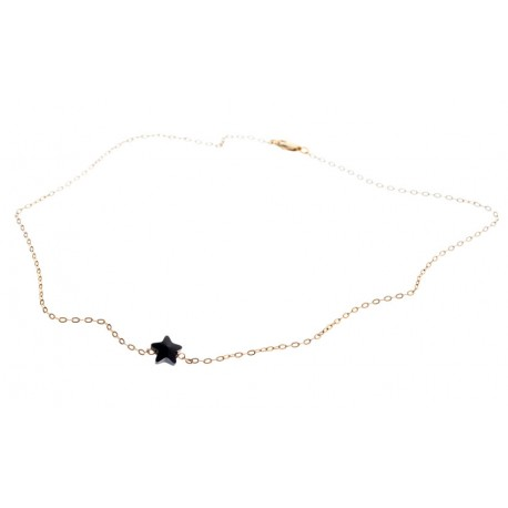 <p>Gold Filled chain necklace (40cm aprox.) with black Swarovski crystal star.</p> <p></p>