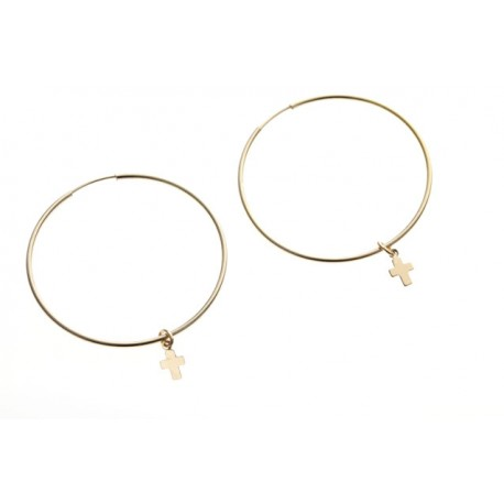 <p>Gold Filled hoops with tiny cross Gold Filled charms.</p> <p>Hoop diameter: 35mm</p>