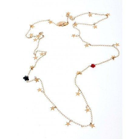 <p>Stars necklace, 18c gold plated, adorned with black Swarovski star and white m.o.p. star.</p> <p></p> <p>Approximate lenght: 35cm</p>