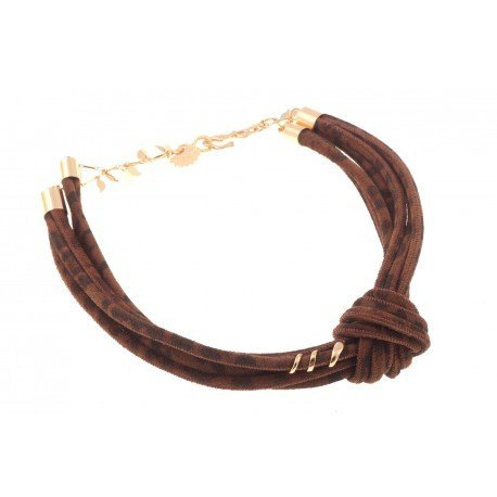 <p>Multitude of suede leather laces in leopard print form a choker, with a side knot and a coiled snake  18k gold plated adornment .</p> <p>The closure has two positions to adjust the size.</p>