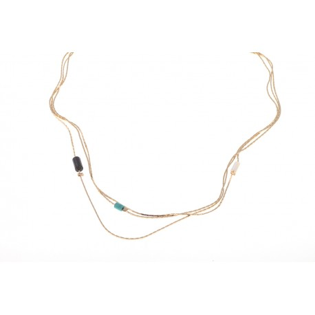 <p>Choker with three turns of fine chain decorated with turquoise stone, black agate and mother of pearl beads. All 18k gold plated.</p>